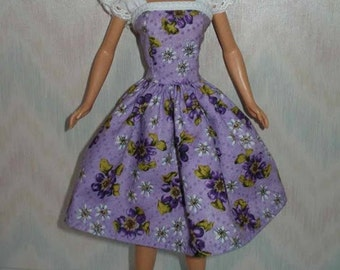 "Handmade 11.5"" Fashion doll clothes - purple floral print and eyelet dress"