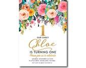 Floral 1st Birthday Invitation. Flower Girl Birthday Invitation,  First Birthday, Printable, Digital, Glitter, Faux glitter 1502