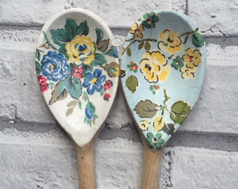 Decorative Decoupage Wooden Spoons using Cath Kidston Highgate Rose