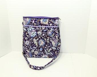 "Samantha Crossbody  Sling bag in Purple Jacobean Floral 11"" x 12"" x 2"""