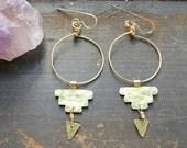 Hammered metal hoops, Pre Columbian dangle earrings