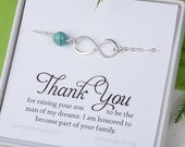 Thank you for raising the man of my dream,Infinity turquoise bracelet,bride to mother in law gift, mother in law,mother of groom