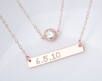 Personalized double layered Tiny dot Bar necklace,Bar Monogram Necklace,tiny dot bar necklace,Sideways cross, Initial Rectangle necklace,
