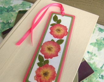 Bookmark Laminated Pressed Flower Pink and Yellow Roses and Rose Leaves
