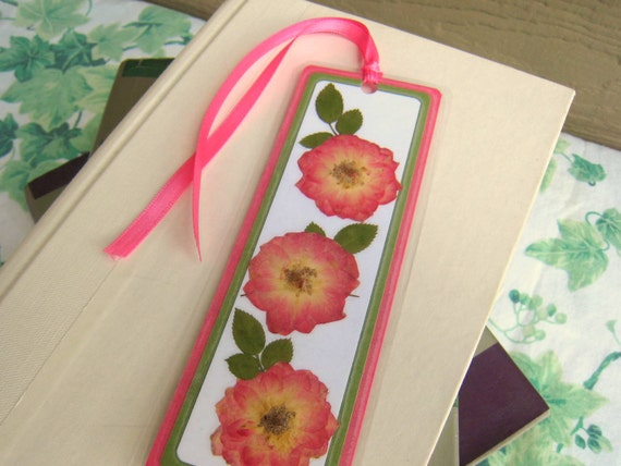 Laminated Pressed Flowers ~ Bookmark laminated pressed flower pink and yellow roses