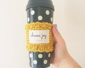 Crocheted knitted coffee cup sleeve cozy in mustard yellow - choose joy or blessed - coffee lovers gift - Christmas gifts under 25