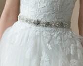 Wedding belt, Bridal belt, Crystal wedding belt, Wedding dress belt, Crystal beaded sash, Rhinestone belt, Lace Wedding belt , Ivory Thin