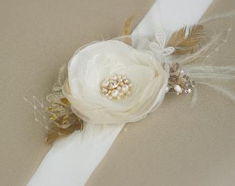 Wedding sash, Gold Bridal sash, Wedding dress sash, Wedding dress belt sash, Champagne belt, Ivory Floral sash, lace bridal sash belt