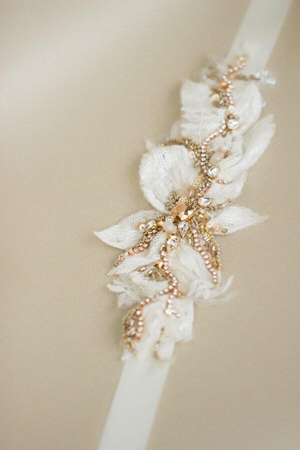 Rose gold belt wedding belt bridal sash rose gold wedding for Gold belt for wedding dress