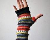 Merino Wool Fingerless Gloves - Knit Fingerless gloves - Fashion Gloves - Rainbow Fingerless Gloves - Christmas Gift nO 72.