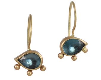 London Blue Topaz Earrings in Recycled 14k Gold and Sterling Silver - Eyes, Teardrop, Ethnic Inspired