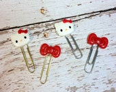 Hello Kitty Inspired Planner Clips - Bookmarks, Journal Clips, Page Marks, Agenda Clip,Paper Clips