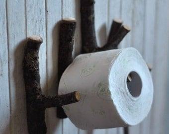 toilet roll holder • tree coat rack  •  set of 4 White Oak Wooden Hooks  • wood hooks