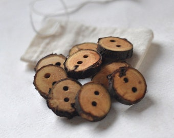 tree branch buttons • set of 9 cherry wooden buttons  • wood button