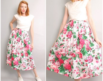 Vintage Fit and Flare Midi Skirt / Floral 50's Style Skirt / 1970's does 1950's / Small