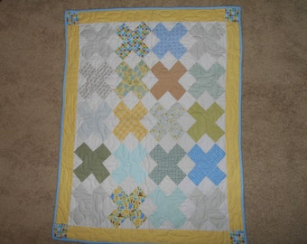 Proceeds Support Charity Work -Flannel Baby Quilt for a Boy - Hugs and Kisses