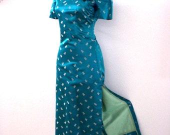 Vintage 60s 70s Aqua Cheongsam Dress - Long Maxi Turquoise Chinese Cheongsam Dress - Bombshell Asian Dress - Wiggle Dress - Small - X Small