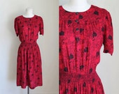vintage red rose dress - ROSOIDEAE floral day dress