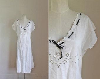 edwardian 1910s nightgown / MIDNIGHT JASMINE white eyelet dress / L
