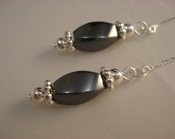 Twisted Hematite on Sterling Ear Threads- Threader Earrings-Necklace-FREE SHIPPING To U.S.-