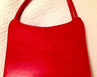 Sydney red leather purse, vintage and super cute and chic