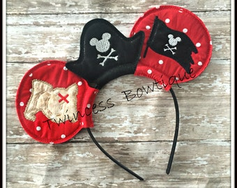 Pirate Mouse Ears Headband by Twincess Bowtique - CUSTOM