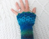 Ocean Blue Mermaid Wristwarmers Tweedy Crocodile Stitch Dragon Scale Crochet Wrist Warmers Wrist Cuffs Handmade in Ireland