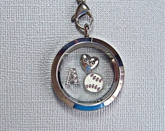 Baseball keychain, personalized gift for Dad, stainless steel floating charm twist top locket, you choose charms, baseball lover gift