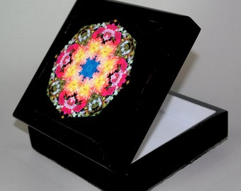 Dahlia Music Box Keepsake Box Trinket Box Boho Chic Mandala New Age Sacred Geometry Hippie Kaleidoscope Unique Gift For Her Deepest Devotion