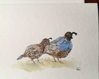 Pair of Quail Watercolor Card / Hand Painted Watercolor Card