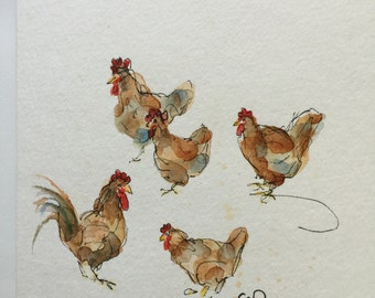 Chickens Watercolor Card / Hand Painted Watercolor Card