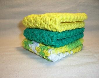 "Set of 3 Handmade Crochet Dish/Bath cloths,Wash Cloths 7' x 7"" 100% Cotton-Ready To Ship"