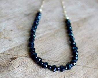 Black Spinel Faceted Necklace Gold Filled