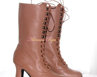 50% SALE Historical Sahara Beige Victorian Boots Lace up light Brown Chocolate leather Ankle boots Custom made shoes