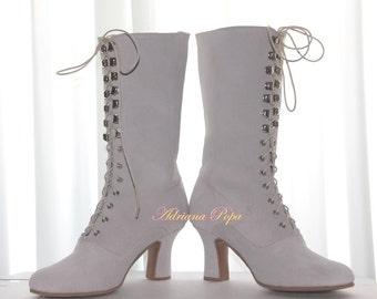 On Sale Size 10 US / 40 European Light Grey suede leather Victorian Boots Ankle Boots Lace up shoes in Suede light Grey Custom made shoes
