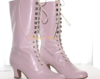 Viola Victorian Boots Ankle Boots in Viola / Crocus  Short Heel Ankle Boots Lace up shoes Handcrafted shoes