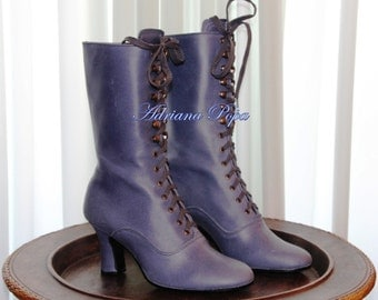 SALE Victorian shoes Victorian Boots in navy leather Snorkel Blue Leather Historical Boots Ankle lace up Blue Edwardian Boots