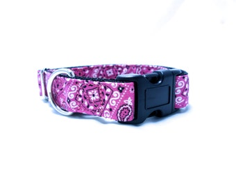 "Houndstown 1"" Pink Bandana Buckle or Martingale Collar, Any Size"