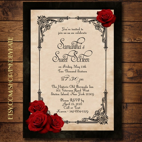 Wedding Invitations Red White And Black: Vintage Black And Red Romantic Rose Quinceanera Or Wedding