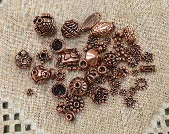 60pcs Antiqued Copper Metal Beads Bead Caps Round Mixed Spacer 50 Grams