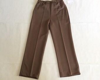 cocoa brown cogarette pants | 70s equestrian belt pants
