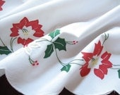 Appliqued Vintage Christmas Tree Skirt Red Poinsettas Hand Embroidery