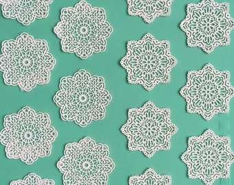 Edible Lace, Sugar lace, Cake lace, tea doilies, coffee, doilies, cocoa doilies,  Set of 18 pieces in 2 designs