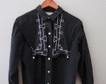 Vintage Black Western Snap Button Down Shirt by Maria O Design