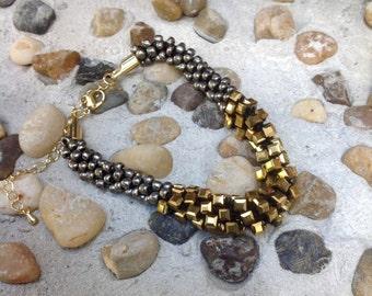 Glam Girl - Golden Czech Crystals Bracelet / Kumihimo Bracelet / Feng Shui Jewelry / Chakra / Reiki Energy
