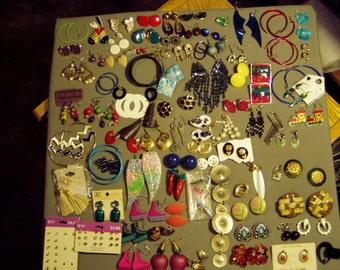 Vintage Lot 85 Pairs Pierced Earrings 1 Pair Screw Back & 14 Pairs Clip Earrings 8669