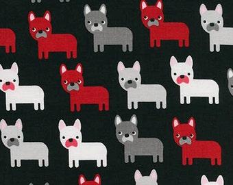 Urban Zoologie Pugs / Dogs on Black - Ann Kelle for Robert Kaufman
