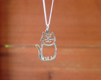 Sitting Cat Charm Pendant,Kitty Charm Necklaces,Cat Lovers