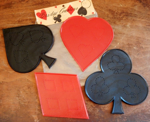 Vintage Coasters Red & Black Bridge Coasters Club Heart Spade Diamond 50's Mid Century Bar Decor Kitsch Drink Coaster