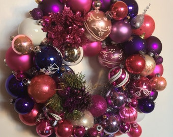 Pink and Purple Wonderland Handmade Vintage Ornament Ball Christmas Wreath Free shipping in Continental U.S.